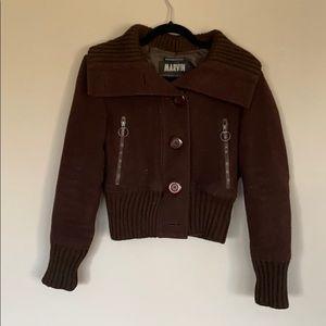 Brown wool bomber jacket
